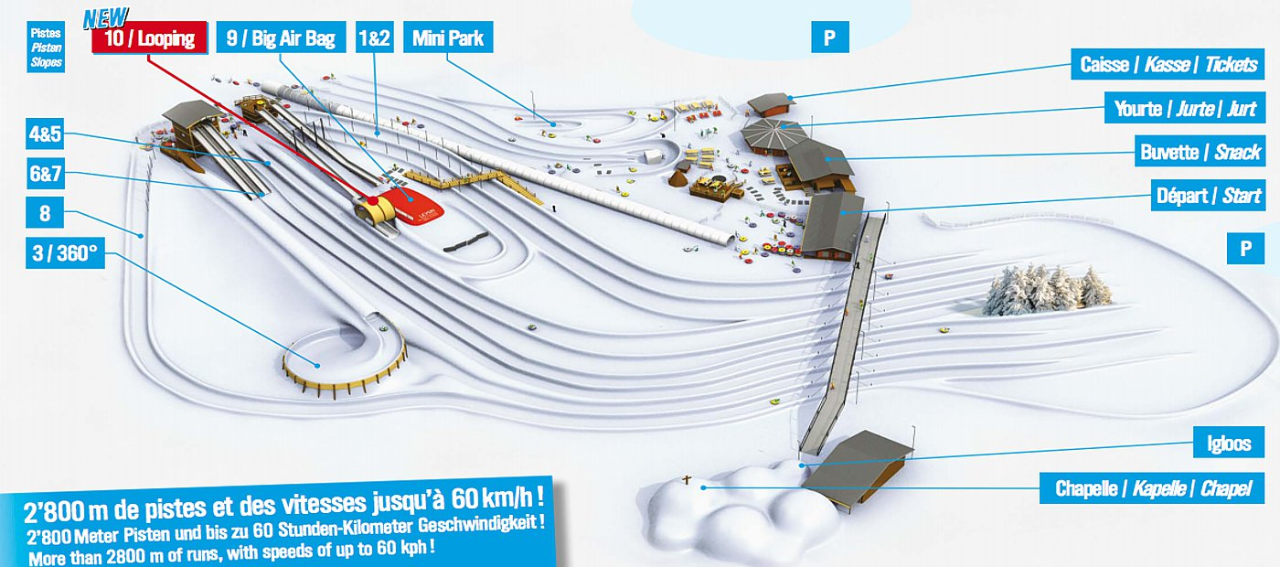 The diagram of the slopes on the website of the leysin tobogganing park.